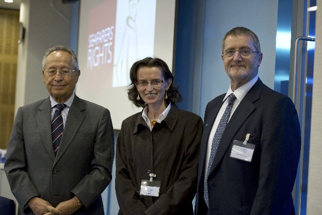 Left to right: Efthimios Mitropoulos, IMO secretary general, Deirdre Fitzpatrick, international lawyer and executive director of Seafarers' Rights International, David Cockroft, ITF general secretary