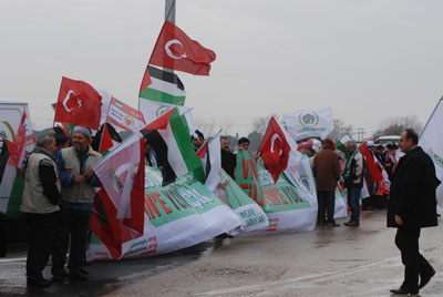 A 45-vehicle convoy with 90 participants from around 30 countries arrived in western Turkey on Monday.