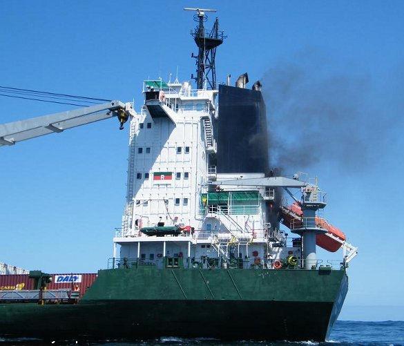 MV Boundary on Fire – Photograph courtesy of Sea Rescue Mykonos
