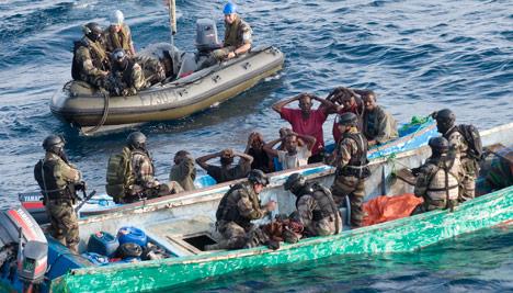 The EU anti-piracy operation Atalanta off Somalia captures suspected pirates. Photo: EU Navfor