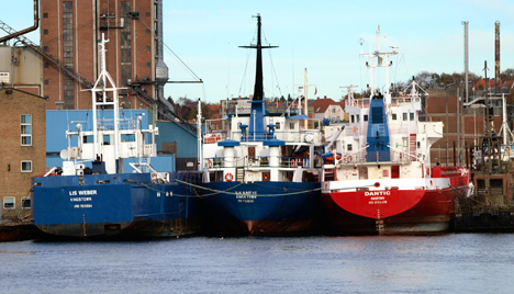 Lis Weber and two company sisters laid up at Svendborg. Photo: Bent Mikkelsen