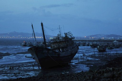 Chinese fishing boats are moored along the coast in Jinjiang