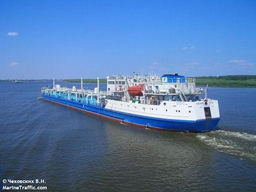 Kazan City – tanker of river-sea type, IMO 9104782, dwt 5760, built 1996, flag Russia, owner Rosmortrans S-Petersburg.