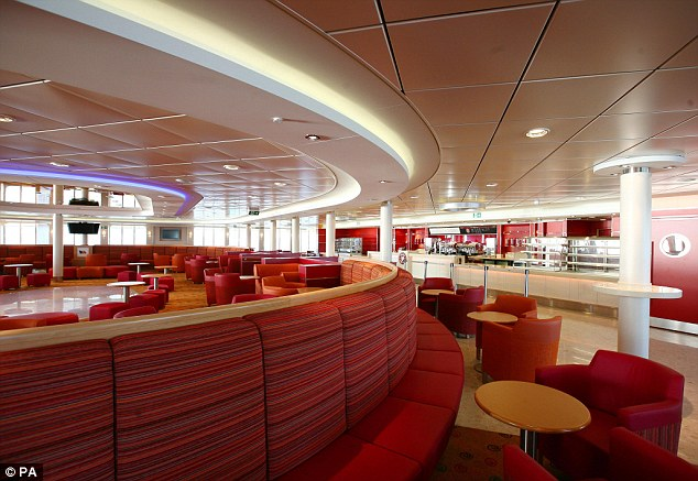 Smart: The interior of the huge boat is smartly decked out and the Dover-Calais trip will cost as little as £30 per person