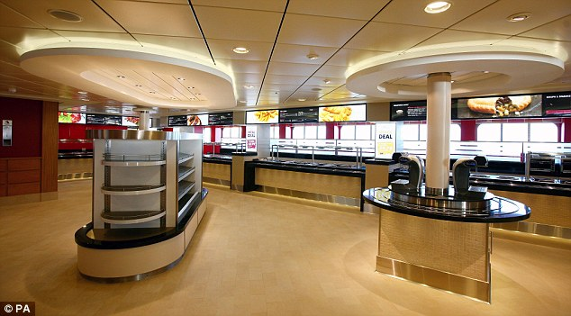 Big appetite: The canteen of the Spirit of Britain caters to the masses - the ship can hold 180 articulated lorries, which is a lot of hungry truckers