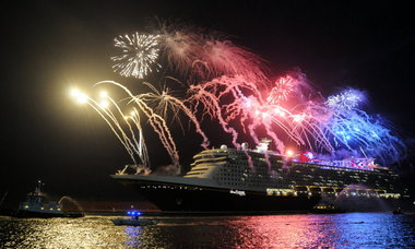 Michael R. Brown, Florida TodayFireworks light up the sky this month as the new Disney Dream arrives in Port Canaveral, Fla. The ship, Disney's first in more than 10 years, starts Caribbean sailings in late January.