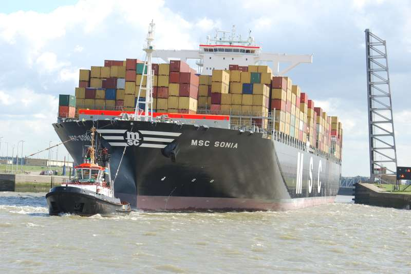 MSC Sonia IMO 9404663, dwt 165691, capacity 13200 TEU, built 2010, flag Panama, owner MSC.