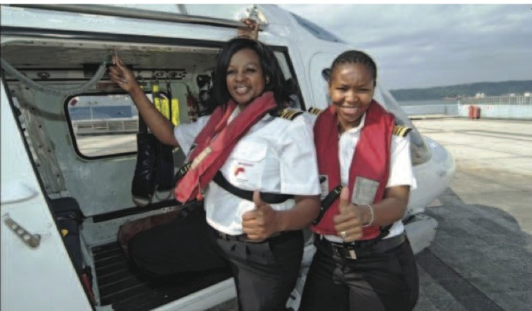 Caption: Precious Dube (left) and Pinky Zungu (right) are two of the three women from Transnet National Ports Authority to qualify as Africa's first black, female Open Licence marine pilots. The third, Bongiwe Mbambo, was absent when photographs were ta