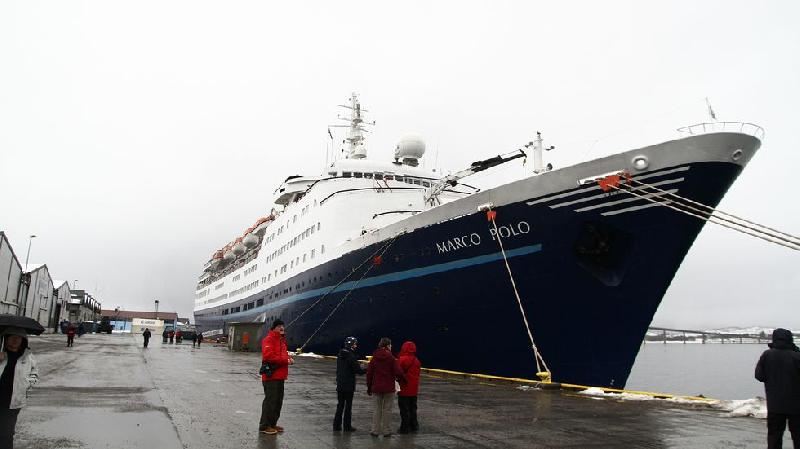 Cruise ship Marco Polo aground at Sortland, Norway
