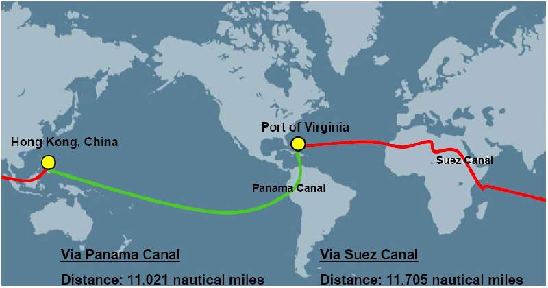 panama canal vs suez canal Maersk line will send through suez canal a vessel that can carry as many as 9,000 20-foot boxes at a time, instead of using two 4,500-box-vessels through panama canal, soeren skou, chief executive.