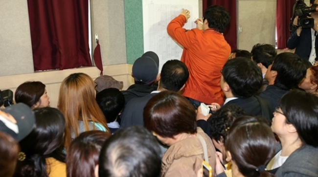 Parents of Danwon High School in Ansan, Gyeonggi Province are eagerly trying to see the list of confirmed survivors. 325 students were on board of ferry 'Sewol' for their trip to Jeju island.