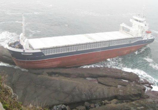 Cargo vessel Beaumont, grounded on the coast of northern Spain , February 2013.