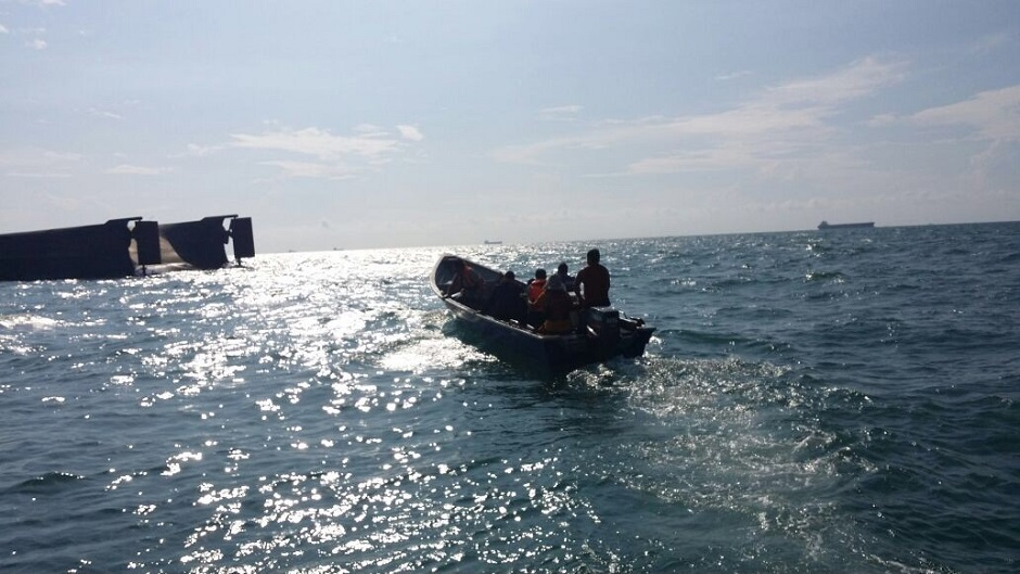 MMEA's search and rescue operations team heading towards the ill-fated barge.