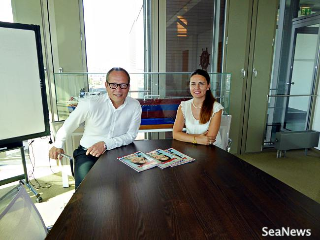 Mr. Jochen Rudolph with Mrs. Fulya Tekin Istikbal of SeaNews at SevenCs Headquarters, Hamburg during interview