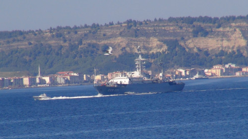 Russian battleship Priazovye passes through Dardanelles