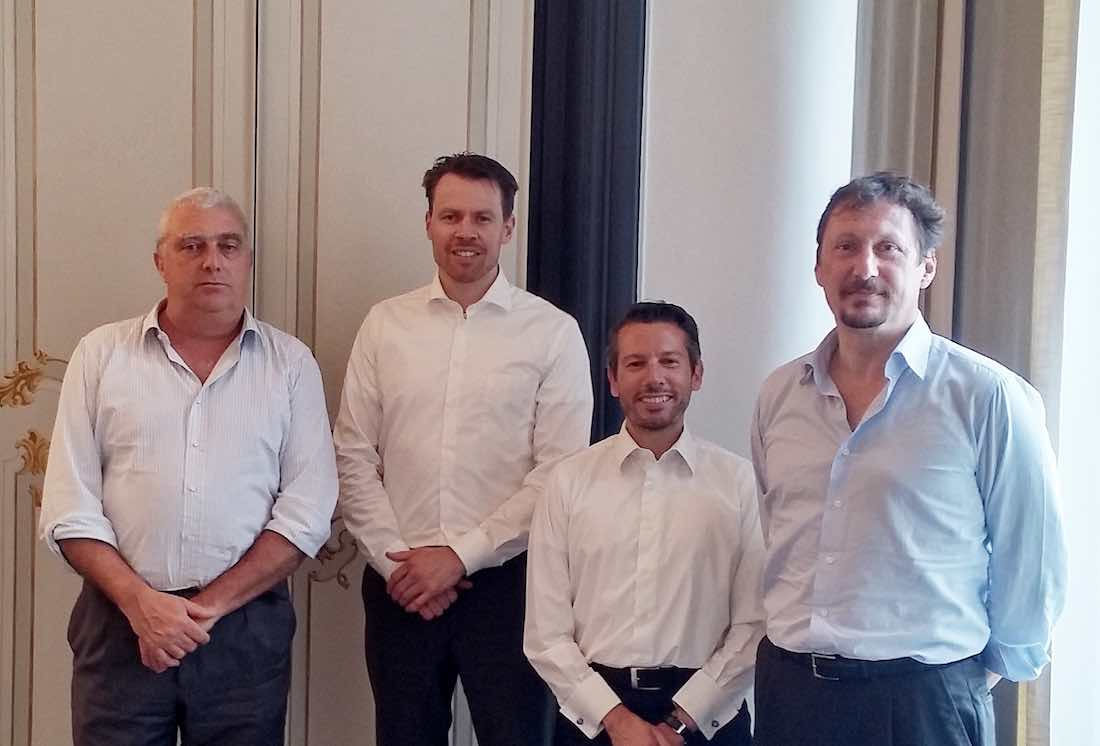 from left to right: Ing. Raffaello Corradi ( Technical Director Rimorchiatori Riuniti Group), Mr. Jan-Pierre Stevens ( Design and Proposal Engineer, Damen), Andrea Trevisan (Sales Manager, Damen), Dott. Alberto Dellepiane (Director, Rimorchiatori Riuniti S.p.A.).