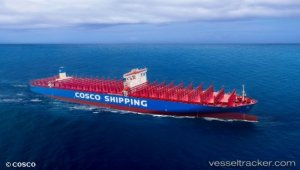 China's largest container vessel COSCO SHIPPING ARIES on sea trials