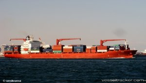 Container ship grounded in dense fog