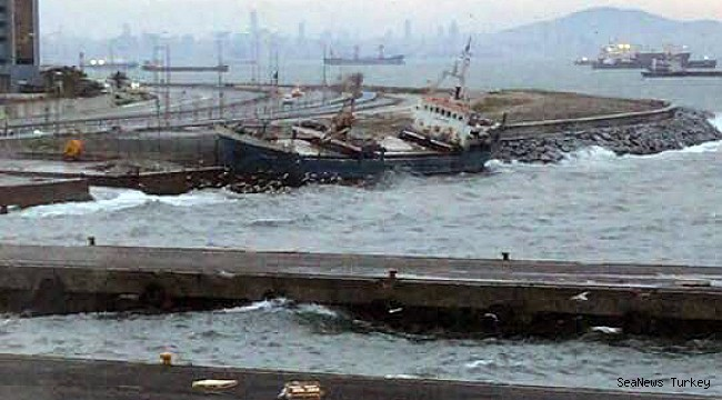 M/V Tallas drifted ashore by strong winds in Istanbul