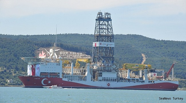 Turkey's first active drilling ship 'Fatih' on her way to Mediterranean