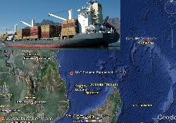 Boxship MSC Panama highjacked far south in Indian ocean