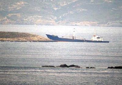 Turkish freighter Servet-K has hit rocks off the Aegean coast of Turkey...