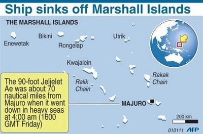 Twenty Missing after Ship Sinks off Marshall Islands