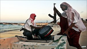 PIRATES HOIST RANSOMS FOR HIJACKED SHIPS