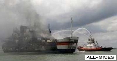 Ferry KMP Lautan Teduh II burned, killed 19 people.