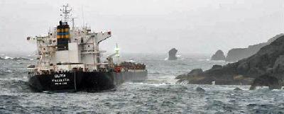 MS Oliva runs aground on Nightingale Island