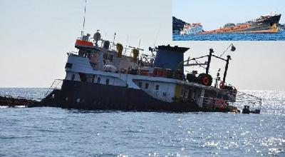"""Turkish freighter """"Zorbey"""" hit ocks in Antalya Bay, partially sunk"""