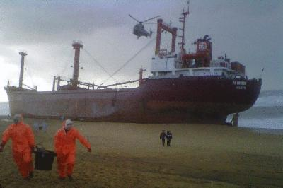 TK Bremen went aground- crew of 19 rescued by helicopter