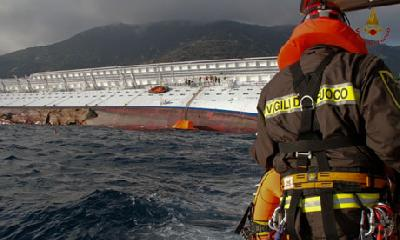 Concordia:The route before and after the collision (video)