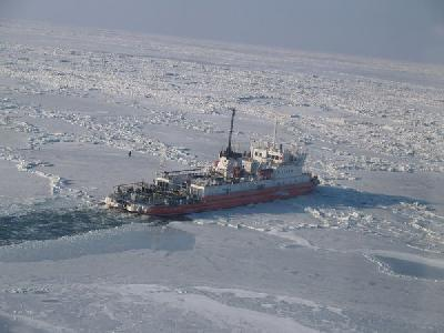 Rosmorport's icebreakers clear passage for ships in Azov Sea