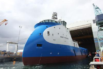 Norway: Launching of Platform Supply Vessel Construction for Blue Ship Invest