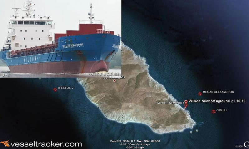 Norway freighter Wilson Newport hard aground, Aegean sea