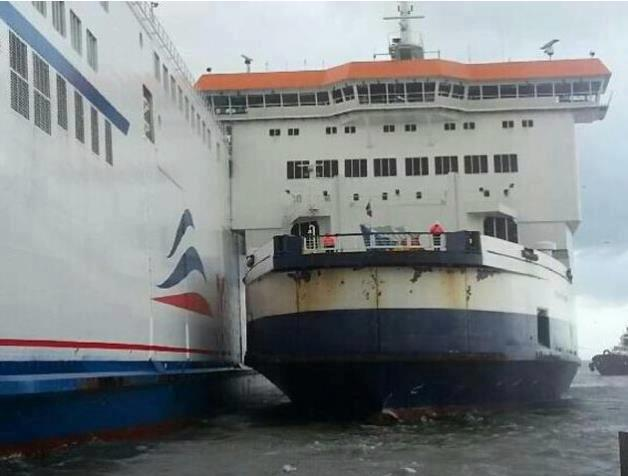 Two cross-Channel ferries collided in high winds