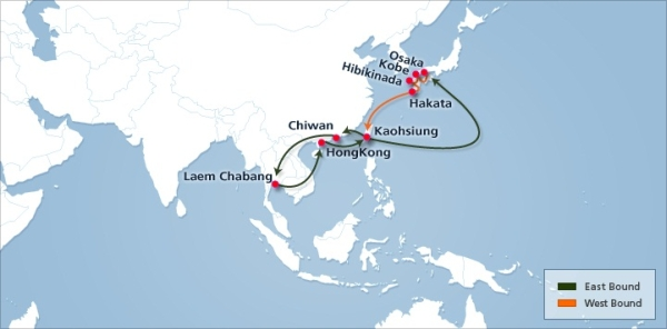 Hanjin Shipping offers two new services between Japan and Thailand