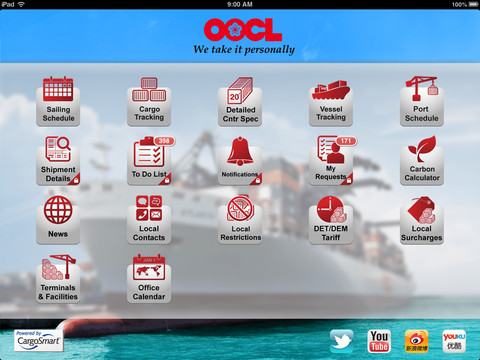 OOCL Lite application for shipment details available via Smartphones