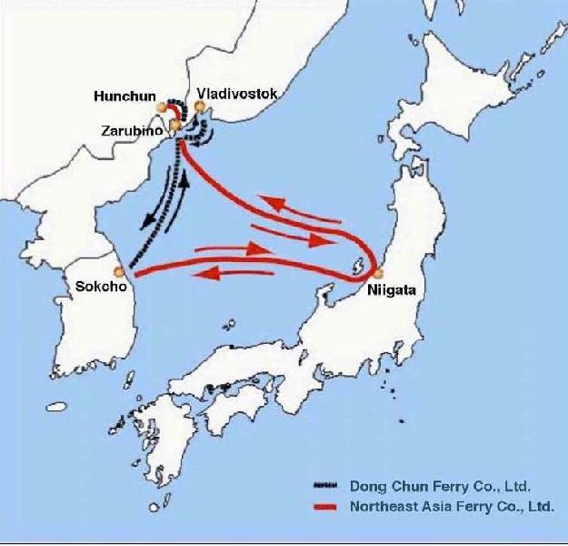 "China, Russia and South Korea now resume ""Xinlanhai"" ferry service"