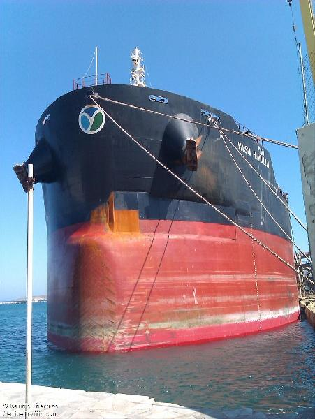 Turkish Bulk carrier Yasa H. Mulla under repairs after accident in Port Said