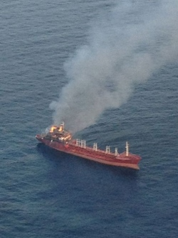 Turkish tanker NAZO S on fire in Adriatic, 12 crew rescued