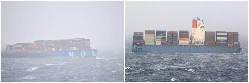 "MOL Comfort ""parts"" in good condition, drifting towards India"
