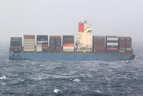 Aft part of MOL Comfort is taking on water
