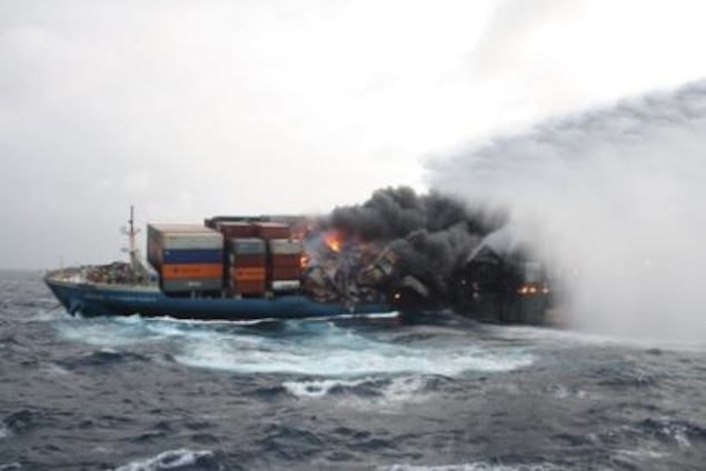 Fire rages at front end of MOL Comfort despite efforts to quell it