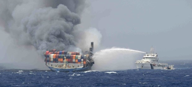 Fire consumes weather deck boxes on MOL Comfort, fate of hold unknown