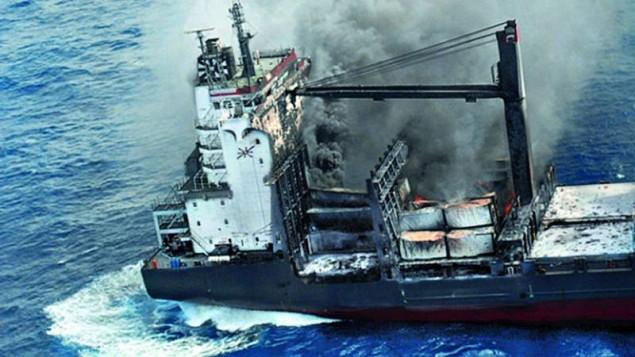 1,740-TEU ship ablaze and adrift in Indian Ocean - all hands safe