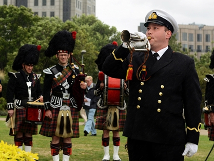 Wartime merchant navy men honoured at London's Sea of Remembrance