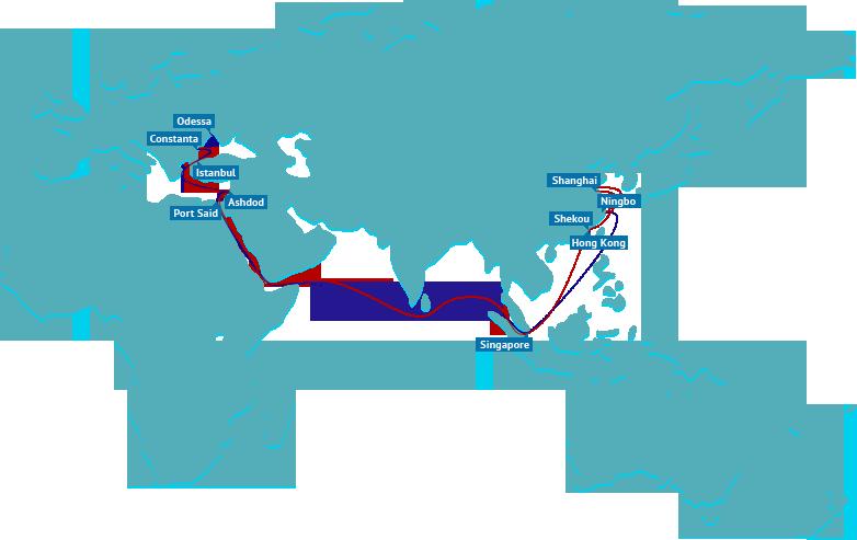 East Mediterranean Asian cargo surges as west Med region languishes