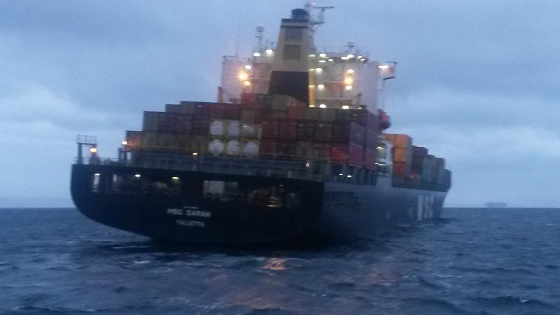 MSC Sarah went aground in Dardanelles, Turkey